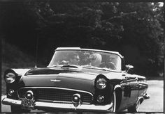 Paul Schutzer (LIFE magazine) - Marilyn Monroe - July 2, 1956 - with Arthur Miller and Milton Greene in Arthur's Thunderbird convertible, on their way from New York City to Roxbury CT, Arthur's home - on the way they stop for fuel, hotdogs and Cokes