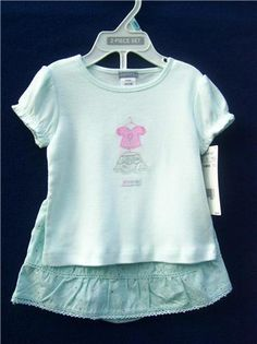 CARTER'S Set 6 mo. Light Green Top Skirt 100% Cotton Everyday Short Sleeve  #Carters #Everyday #OutfitsSets