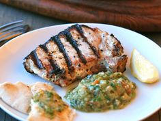 Grilled Pork Kalymnos-Style with Eggplant-and-Tomato Salad   The herbs and yogurt in the pork marinade, along with the bold flavors in the eggplant salad, transport Andrew Zimmern to the Greek Isles.