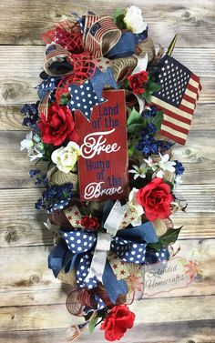 Patriotic Door Swag, Americana Door Swag, Memorial Wreath, Land of the Free Wreath, Floral American Flag Wreath, Rustic Patriotic Wreath by Splendid Homecrafts on Etsy