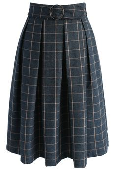 Swanky Grid A-line Midi Skirt - New Arrivals - Retro, Indie and Unique Fashion