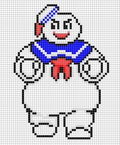 Stay Puff Marshmallow Man Perler Bead Pixel Art Design Chart Ghostbusters