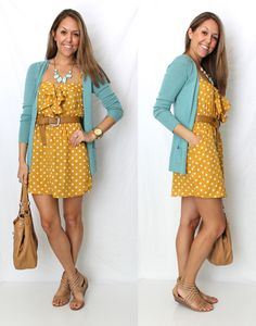 mustard polka dot dress, teal cardigan and nude shoes. yes please!