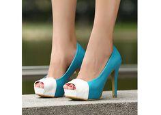 Color Block Peep Toe Heels