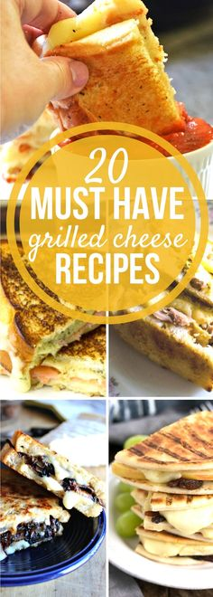20 different gourmet grilled cheese sandwiches to make at home for breakfast, lunch, dinner, and even dessert grilled cheese sandwich recipes too! All of your grilled cheese sandwich needs in one place!