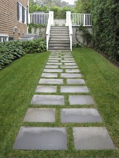Macon Concrete - Santa Monica, CA, United States. Modular stepping stones provide a direct path from the side yard to the pool deck. Side Yard Landscaping, Backyard Walkway, Garden Pavers, Backyard Garden Design, Paver Walkway, Walkways, Back Gardens, Outdoor Gardens, Outdoor Flooring