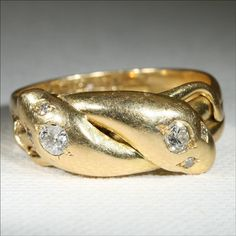 Antique Victorian 18k Diamond Snake Ring by VictoriaSterling, $1680.00
