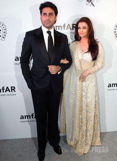 Aishwarya Rai and Abhishek at the inaugural amfAR Gala