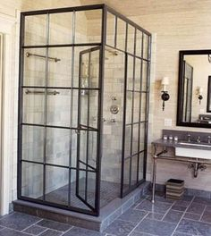 modern interior design photography factory window shower Modern Home - Design DCA Eclectic Bathroom, Industrial Bathroom, Modern Bathroom, Bathroom Interior, Slate Bathroom, Basement Bathroom, Industrial Apartment, Masculine Bathroom, Craftsman Bathroom