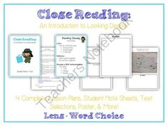 CLOSE READING Unit - Intro to Looking Deeper - Various Texts - Common Core from Lessons For Little Learners on TeachersNotebook.com -  (17 pages)  - Want to introduce Close Reading to your students? Start here!