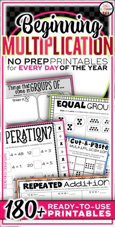 Multiplication facts--so many FUN multiplication activities and ways to build fact fluency!  180+ pages, so my kids can practice every day of the year!