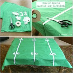 Fun & Easy Football Party Ideas Create this DIY tablecloth in time for the big game! You won't want to watch the game without this football field decor. It's an simple craft that will make a great spot to lay out your game day party food. Football Banquet, Football Tailgate, Football Themes, Football Birthday, Football Field, Football Season, Football Parties, Football Shirts, Football Decor