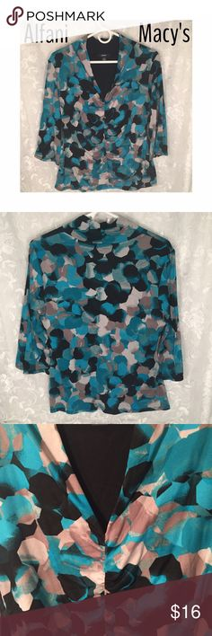 Macy's Alfani blouse with 3/4 sleeves Beautiful blouse to transition from winter to spring! Light weight with 3/4 sleeves. Beautiful colors. Alfani Tops Blouses