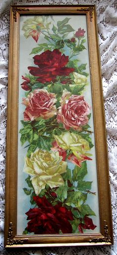 c1890s Catherine Klein ROSES Print Chromolithograph Cabbage Rose Yard Long Panel