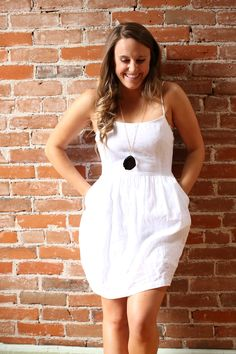 White Dress with a statement necklace! www.shutterchicphoto.com