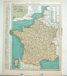Vintage Map of France the 1930's @Claire Brouwer