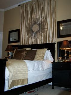 I loooove black furniture. master bedroom with black furniture. a pretty light gold-ish paint color on the walls. Add some neutral colored bedding and a little more white to the room. Bronze Bedroom, Gold Bedroom, Bedroom Decor, Bedroom Ideas, Wall Behind Bed, Curtains Behind Bed, Gold Curtains, Shabby Chic Zimmer, Small Master Bedroom