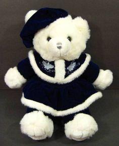 "21"" White & Blue CHRISTMAS TEDDY BEAR Plush TB Trading 2000 Shlf #TBTrading"