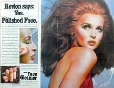 "Revlon ""Face Gleamer"" Vintage Ad ... I'd date this to the late '70s or early '80s. Big hair, lots of glam."