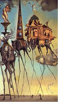 "This is Salvador Dali's ""Elephant's 3,"" which is my inspiration for a story for a Dali-themed anthology. The melting clocks on the desert are much better known, and offer more obvious story ideas, but this image is strange and wonderful."