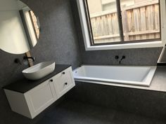 Framenti porcelain bathroom renovation #renoworx #bathroomrenovations Bathroom Renovations Melbourne, Double Vanity, Pergola, Bathtub, Porcelain, Building, Standing Bath, Bathtubs, Porcelain Ceramics