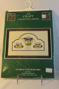 RARE From England Clarice Cliff Blue Firs Counted Cross Stitch Kit The Craft Collection Limited 2000 13 x 6 inches Teapot Cups Saucers Tea by Rt22Collectibles on Etsy