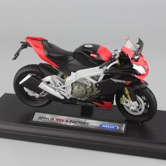 1/18 scale welly Children's Aprilia RSV 4 Factory motorcycle Motorbikes metal mini model rubber tire display gifts Diecast toys #Affiliate