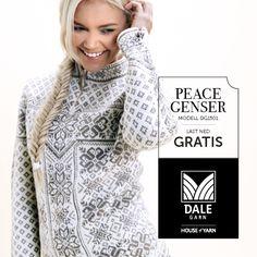 Oppskrift på Peace-genseren fra Dale | Download pattern for free: http://dalegarn.no/oppskrift/peace-genser-nr-1501/