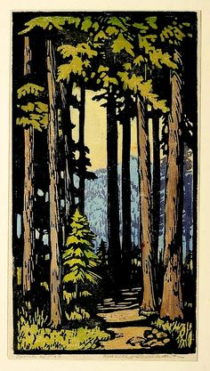 ✨  Frances Hammell Gearhart (1869-1958), Colour Woodcut
