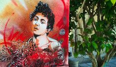 Caravaggio-inspired street art in Palermo by artist C215