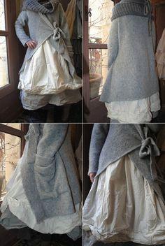 MLLE CLARA : Robe EWA IWALLA, veste en laine grise JAYKO, chale en laine grise Les Ours