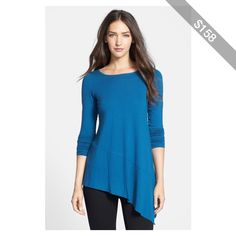Bought this top and it is PERFECT for my body shape  Eileen Fisher Bateau Neck Asymmetrical Jersey Tunic