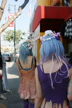 pastel teal, blue, and pink hair