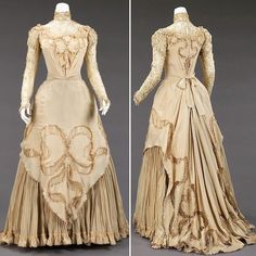 1890s Fashion, Edwardian Fashion, Vintage Fashion, Vintage Gowns, Vintage Outfits, 19th Century Fashion, Old Dresses, Moda Vintage, Antique Clothing