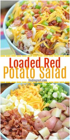This red potato salad with bacon is loaded with flavor and perfect for your next potluck or picnic. This loaded potato salad recipe includes all your favorite baked potato fixings including sour cream, cheese and green onion but also contains a surprise i Red Potato Recipes, Potato Dishes, Food Dishes, Red Potatoe Salad Recipe, Recipes With Red Potatoes, Recipes With Green Onions, Loaded Potato Salad, Loaded Baked Potatoes, Potato Salad With Bacon