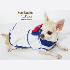 Sailor dog dress cute and adorable design from Myknitt Designer Dog Clothes. #pets #chihuahua #sailor #USA #dogclothes #crochet #DIY #Knit