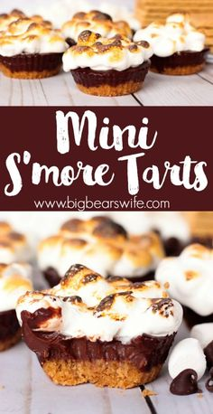 These Mini S'more Tarts have layers of graham crackers, chocolate ganache and marshmallows! The tops of these tarts are piled high with a sweet marshmallow topping that's been perfectly toasted! Tart Recipes, Best Dessert Recipes, Baking Recipes, Cookie Recipes, Mini Desserts, Easy Desserts, Delicious Desserts, Yummy Food, Marshmallow Desserts