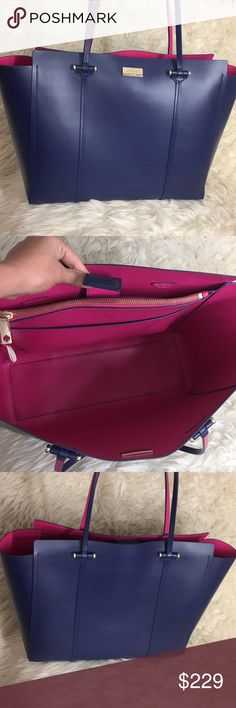 b5045fb5ebba 🌸FLASH⬇ 🌸Kate Spade All Leather Two Tone XL Tote 🌷Authentic🌷