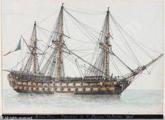"""ROUX Antoine Joseph Ange (Antoine Roux Père), 1765-1835, """"Le Vaisseau Borée"""". Watercolour over black crayon."""