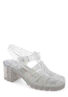 I LOVED these shoes back in the day... Fun in the Pair Shoe by Juju - Silver, Solid, Cutout, Glitter, Vintage Inspired, 90s, Chunky heel, International Designer, Mid, Summer