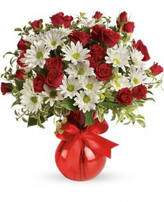 Red, White And You Bouquet by Teleflora Flowers