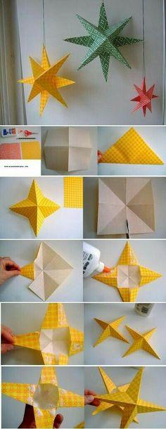 Evimizi parti için kendimiz süslersek nasıl olur :) #Yılbaşısüsü #yilbasi #süsleme #elişi #kağıtyıldız #yıldız #süsleme
