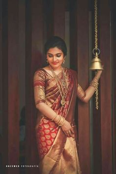 Magnificent Maroon Colored Soft Silk Saree with Matching Color silk Blouse. It contained of Printed. The Blouse which can be customized up to bust size This Unstitch Saree Length mtr including mtr Blouse. Bridal Sarees South Indian, Wedding Silk Saree, Indian Bridal Fashion, Reception Sarees, Wedding Reception, Silk Saree Kanchipuram, Banarsi Saree, Lehenga Choli, Saree Poses