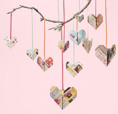 Origami heart decorations made from recycled paper and hung with colourful ribbons Valentine Love, Easy Valentine Crafts, Holiday Crafts, Valentines, Easy Origami Heart, Origami Easy, Origami Paper, Origami Hearts, Origami Mobile