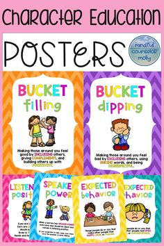 Use these character education posters in your classroom to begin using a common language! A fantastic classroom management tool. Social Skills Activities, Counseling Activities, Character Education Posters, Middle School Counselor, School Counseling Office, Special Education Teacher, Classroom Management, Lesson Plans, Therapy