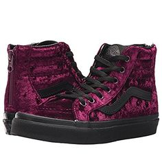 7d1e8c58ab Vans Sk8-Hi Zip (Velvet) Fashion Sneakers Red Black Size 2 Little