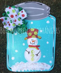 Christmas door hanger, winter wreath, mason jar door hanger, Christmas decor, winter door hanger, holiday door hanger by BowsandBellsHangers on Etsy