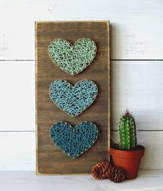 Multiple Multi-Colored Hearts String Art