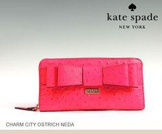 KATE SPADE Charm City Ostrich Neda Bow Zip Wallet DESERT ROSE Pink-WLRU1799- NWT