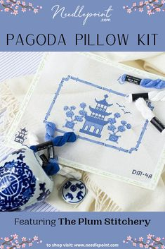 If you're looking for an elegant design that will never go out of style, we have you covered with our Pagoda Pillow Kit. This chinoiserie pillow makes a timeless project to stitch! 💙 • • #needlepoint #ndlpt #newneedlepoint #needlepointkit #needlepointpillow #homedecor #ThePlumStitchery #NeedlepointDotCom #needlepointcanvases #stitchersofpinterest #needlepointersofpinterest Needlepoint Pillows, Needlepoint Kits, Needlepoint Canvases, Quality Sofas, Go Kit, Hand Painted Canvas, Canvas Designs, Hanging Signs, State Art